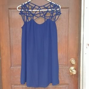 Strappy Blue Slip Mini Dress sz S